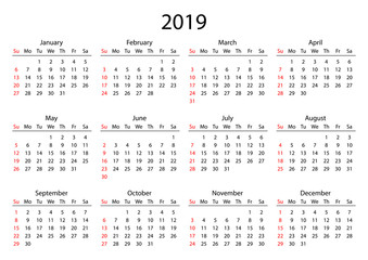 Calendar 2019. Calendar grid 2019 year black on white background. Red Sunday starts. Vector illustration AI10.