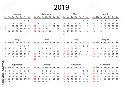 """Calendar 2019. Calendar Grid 2019 Year Black On White"