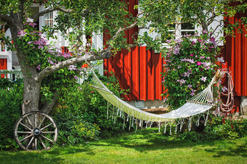 Picture of backyard area with hammock and old vintage details on the green grass