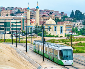 Wall Murals Algeria City tram and a mosque in Constantine, Algeria