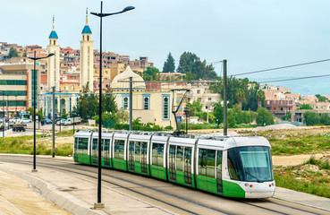 Printed roller blinds Algeria City tram and a mosque in Constantine, Algeria
