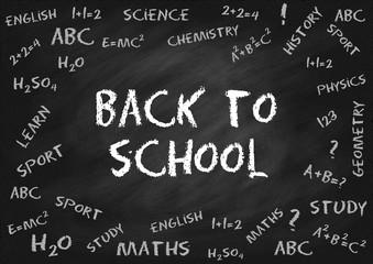 Back to school. Chalk lettering on chalk board