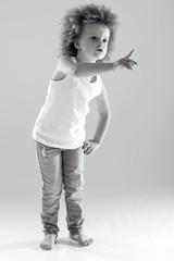 Child girl black and white photo