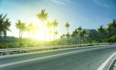 Türaufkleber Khaki Summer background of road with palms and sunset time