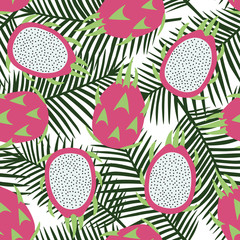 sweet whole dragon fruit and cut dragon fruit tropical exotic fruit pink with seeds pitaya on green palm leaves background summer seamless pattern vector