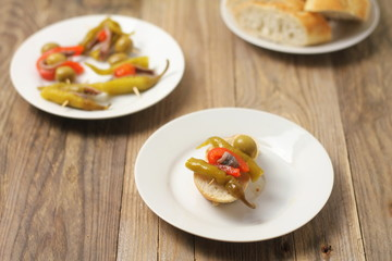 Basque banderilla made of peppers, olives and anchovies