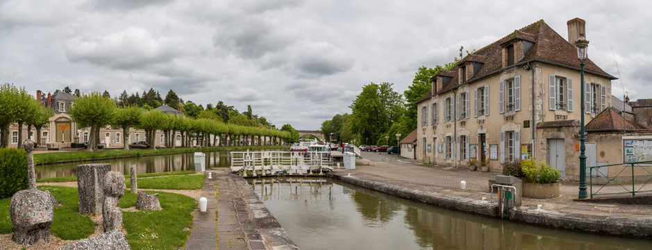 French canal and lock system in the Loire Valley, France