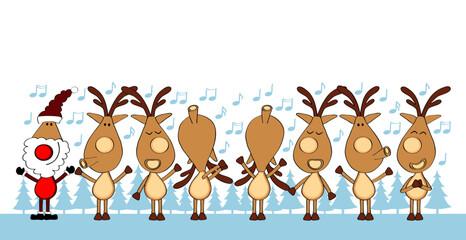 singende Elche mit Weihnachtsmann vor weissem Hintergrund, mit blauen Tannen, DIN lang, cartoon-IT