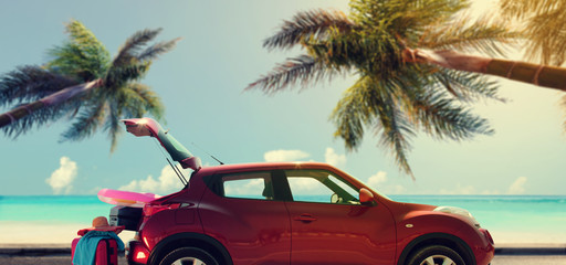 Summer car and background of palms and sea.