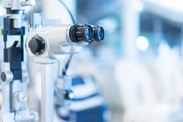 Visual inspection in the hospital for myopia patients.