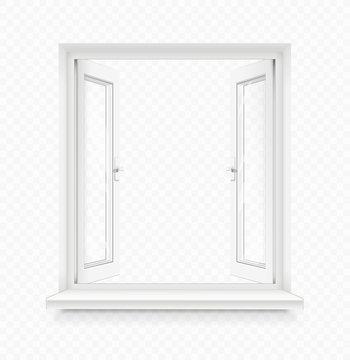 White classic plastic open window with windowsill. Transparent