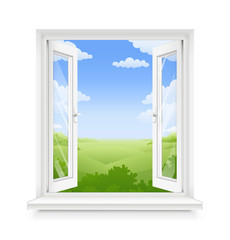 White classic plastic open window with windowsill. Transparent