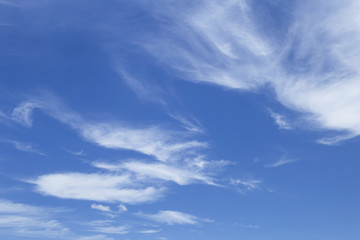 Under the summer clear blue sky and white cloud, nature concept background