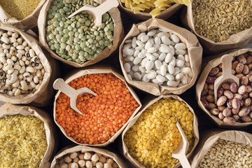 Various dried legumes high angle view