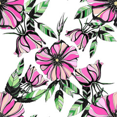 Awesome rose flowers. Hand drawn ink illustration. Wallpaper or fabric design.