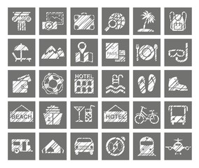 Travel, vacation, tourism, vacation, icons, pencil shading, vector. Different types of holidays and ways of travelling. Square one-color icons. Simulation of shading. Vector clip art.