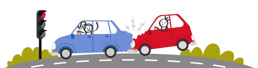 Auffahrunfall, Autounfall, Verkehrsunfall, Strichmännchen in Autos schimpfen, Banner