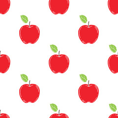 Seamless pattern with apples. Vector background.