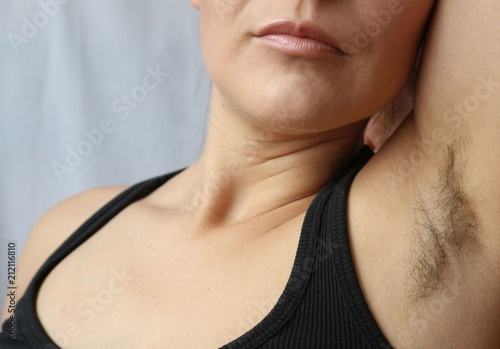 Woman With Armpit Hair Hair Growth Depilation Or New Natural Trend