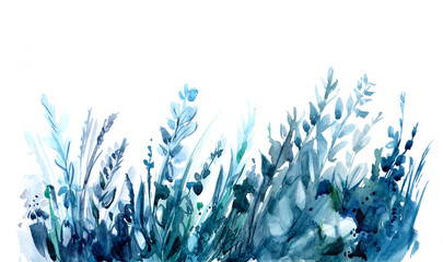 Watercolor background with leaves and herb. Hand drawn illustration
