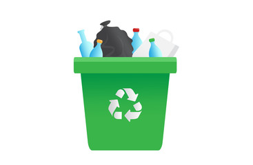 Recycling garbage can, ecology symbol. Trash. Vector illustration