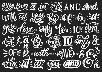 Handwritten catchwords and ampersands vector set.Calligraphy collection of conjunctions,prepositions on black background