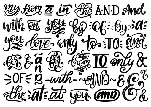Handwritten catchwords and ampersands vector set.Calligraphy collection of conjunctions,prepositions on white background