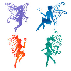 Set of watercolor fairy. Vector illustrations isolated on white.