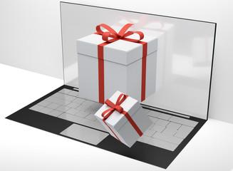 computer desktop gift boxes 3d-illustration