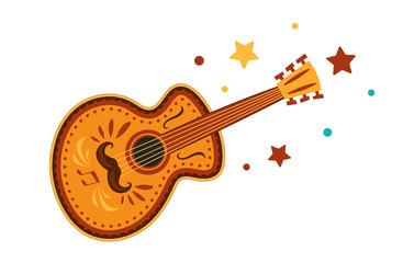 Mexican Guitar. Illustration of isolated a guitar on white background