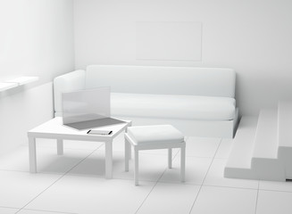 room indoor with computer notebook and mobile phone in front of couch 3d-illustration