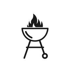 Black barbecue grill icon