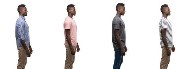 Collage of african american man wearing different outfits looking to side, relax profile pose with natural face with confident smile.