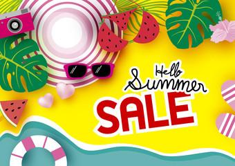 Summer sale banner background vector illustration