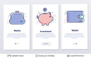 Wallet and piggy bank symbols.