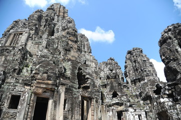 The Bayon is a well-known and richly decorated Khmer temple at Angkor in Cambodia. Built in the late 12th or early 13th century as the official state temple of the Mahayana Buddhist King Jayavarman VI