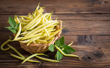 Fresh yellow kidney beans in the basket