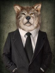 Foto op Canvas Hipster Dieren Wolf in a suit. Man with a head of lion. Concept graphic in vintage style.