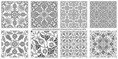 Motifs décoratifs inspirés de céramiques ottomanes du XVIe siècle Wall mural