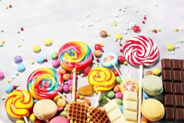 Spoed Foto op Canvas Snoepjes candies with jelly and sugar. colorful array of different childs sweets and treats