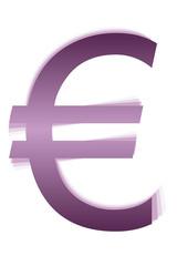 Símbolo morado del euro.