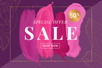 Vector sale banner with text on lipstick stokes background and golden decorative elements. Good for salons, beauty shops.ments. Good for salons, beauty shops.