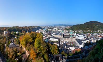 Salzach River in Salzburg, Austria,  Viewed from Hohensalzburg castle