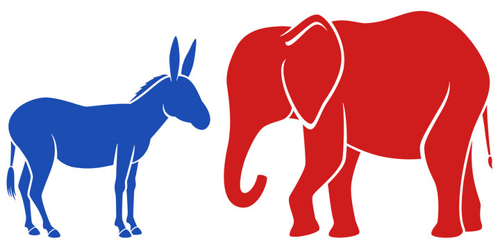 Vector illustration of a blue donkey and a red elephant, representing the Democratic and Republican political parties in the United States.