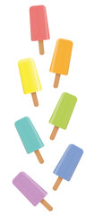 Popsicles. Variation of fruity colored frozen ice lollys, loosely arranged. Isolated upright format vector illustration on white background.