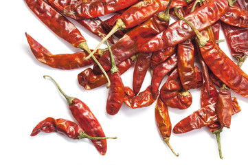 Red dry chillies isolated on white background.