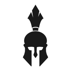 Simple spartan helmet silhouette icon. Black silhouette helmet. Isolated on white
