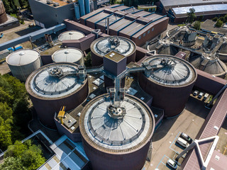 Aerial view of wastewater treatment plant in Switzerland, Europe