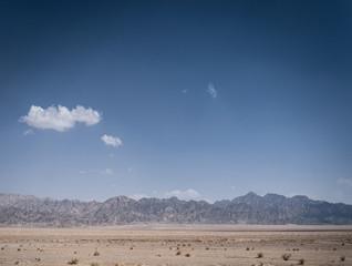 dry desert landscape view near yazd in southern iran