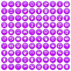100 software icons set in purple circle isolated on white vector illustration